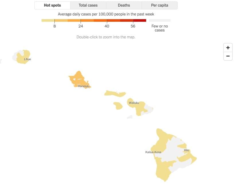 hawaii reopening - covid map