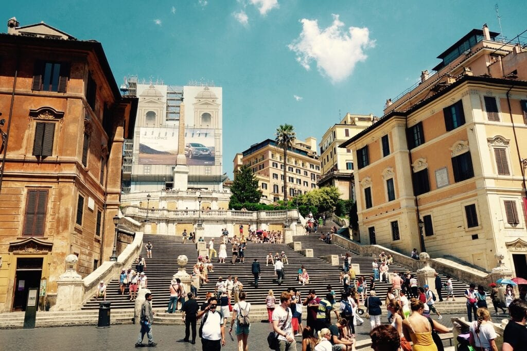 tourists visiting rome