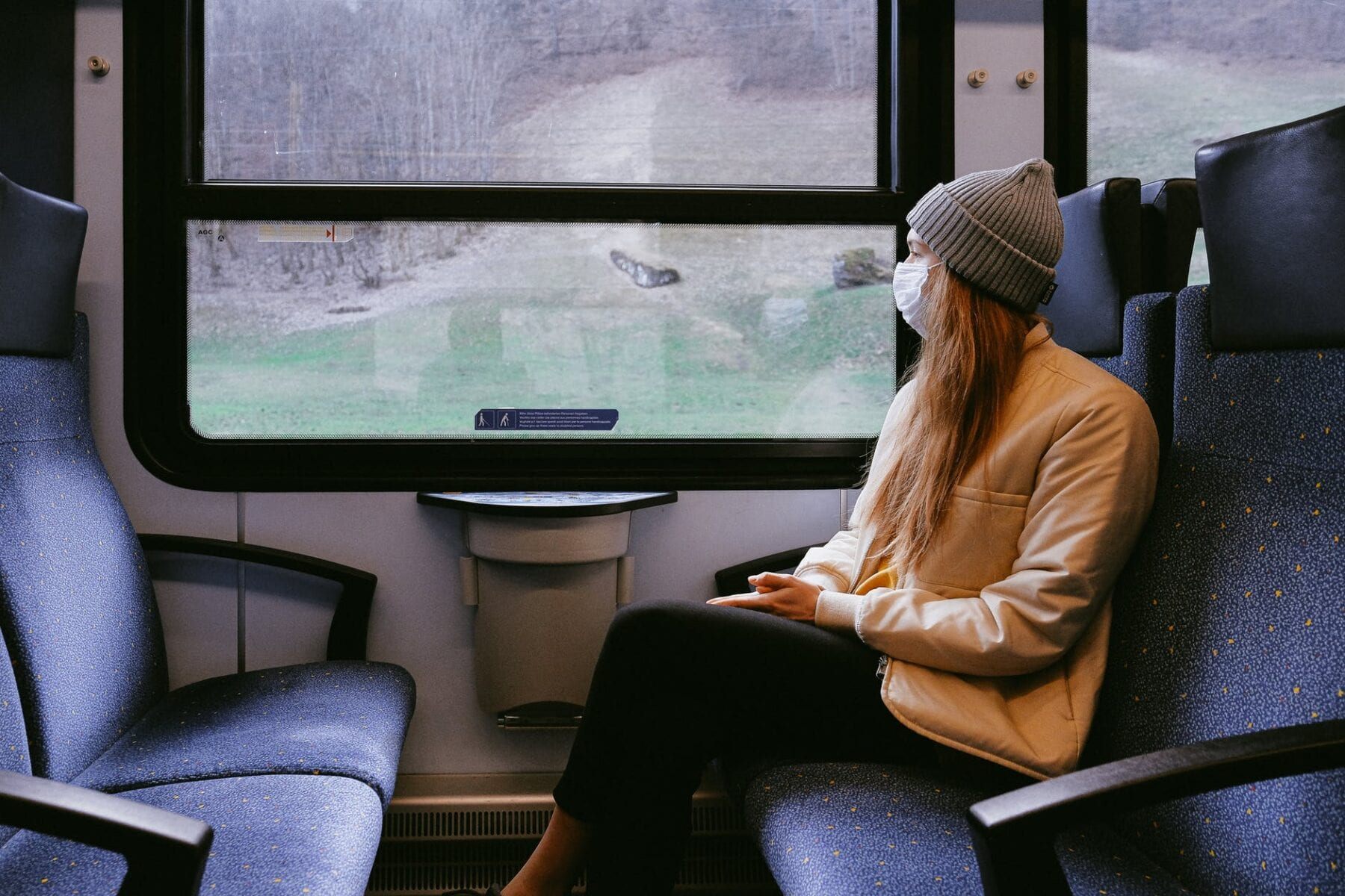 Woman wearing a face mask on a train