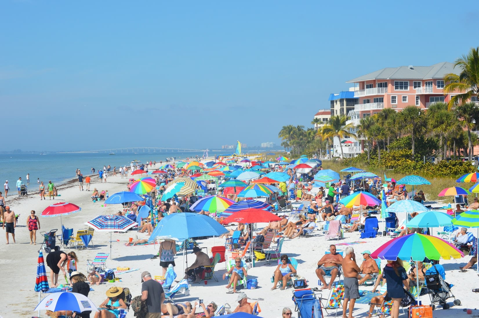 tourists on the beach in Florida