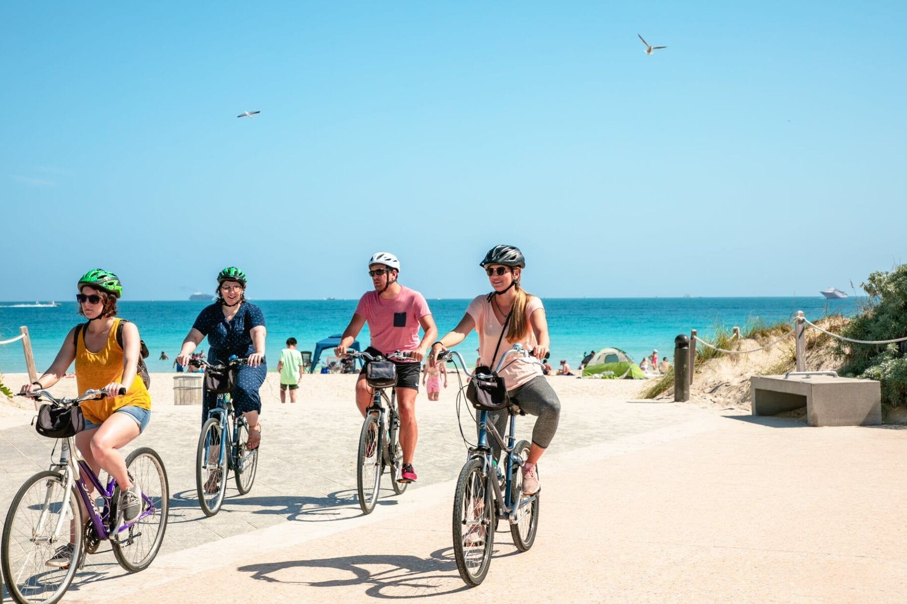 Tourists biking at Miami Beach, United States