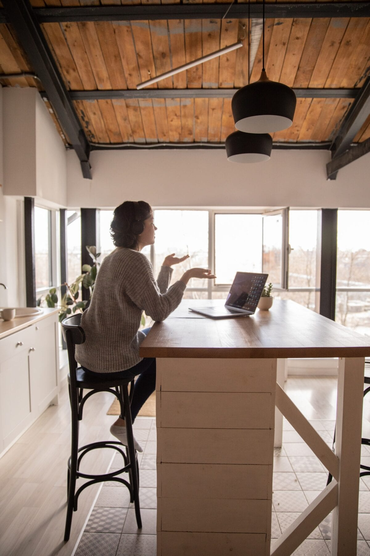 woman working from home remotely