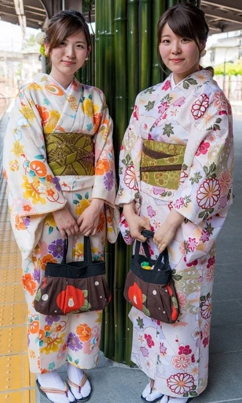 Japanese women wearing Kimonos