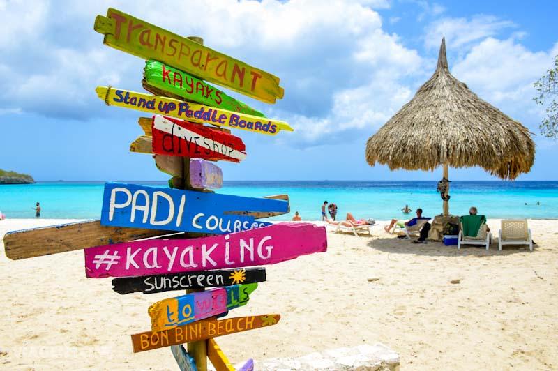 Beach sign in Curaçao