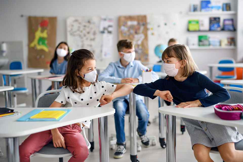 Kids wearing face mask at school